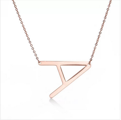 gold Stainless steel Jewelry Alphabet Letter Necklace Chain