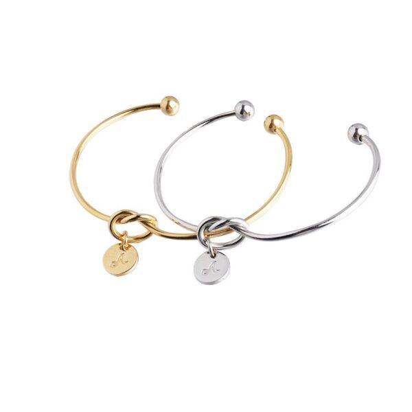 Bijoux-Women-Jewelry-26-Initial-Letters-Disc-Knot-Bangle-Bracelet
