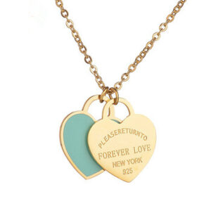 Custom DIY Words with Logo Stainless Steel heart shape pendant Necklace green
