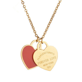 Custom DIY Words with Logo Stainless Steel heart shape pendant Necklace red