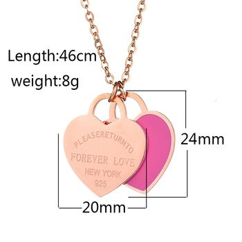 Custom DIY Words with Logo Stainless Steel heart shape pendant Necklace size 8g
