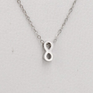 Necklace-Stainless-Steel-Gold-Steel-Infinite-Chain-8-Word-Pendant-Clavicle-Chain